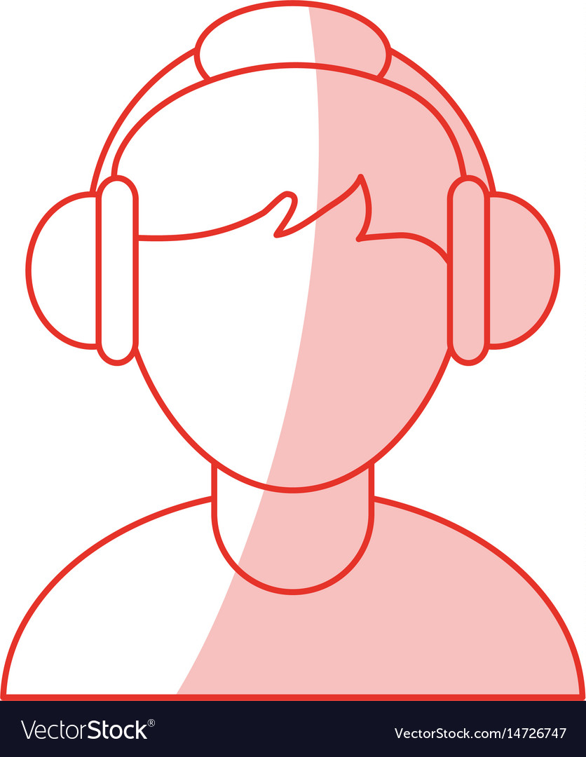 Red shading silhouette cartoon faceless half body vector image