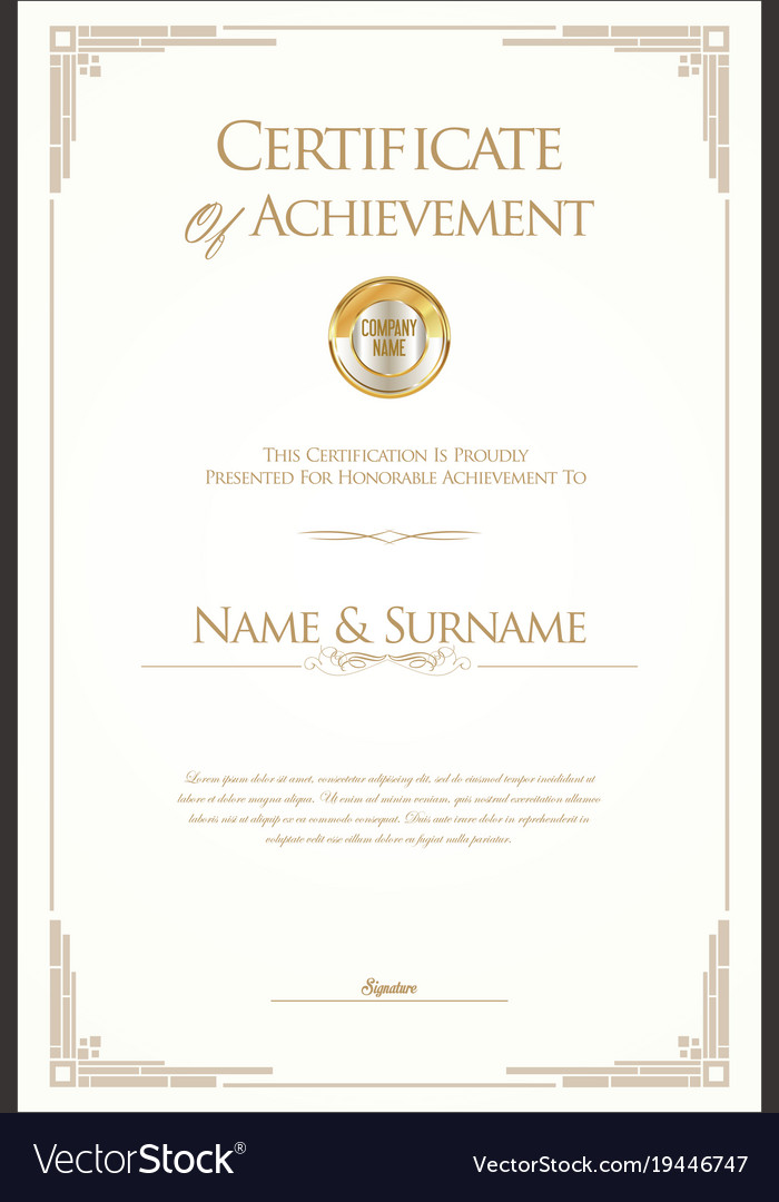 Retro Vintage Certificate Or Diploma Template Vector Image