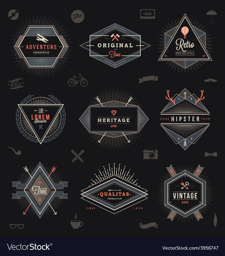 Set hipster trendy emblems labels and sign
