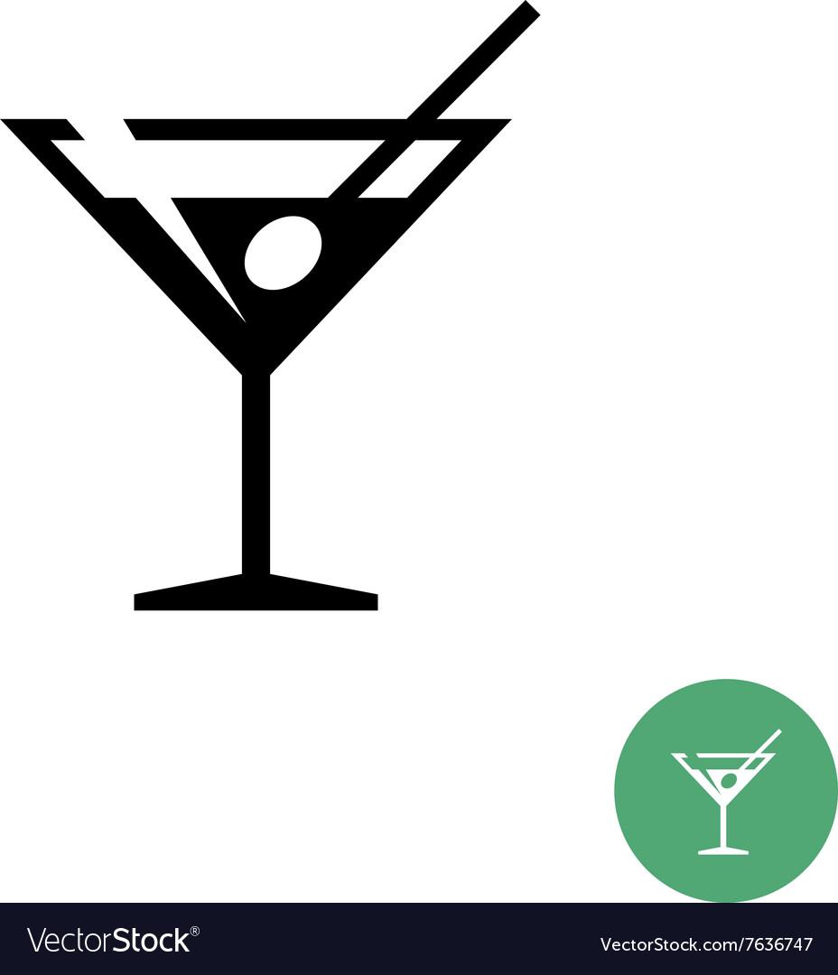 Triangle martini cocktail glass black simple icon