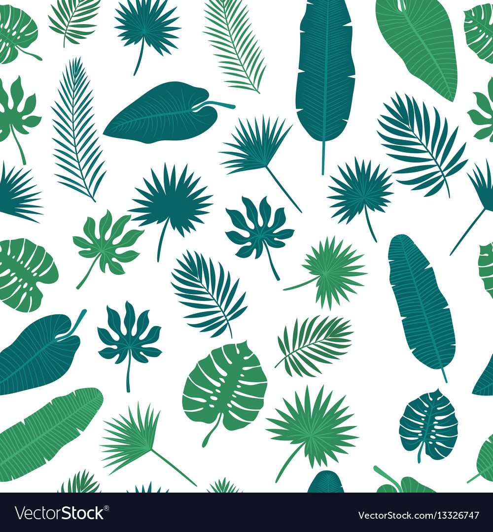 Tropical leaves seamless pattern floral jungle