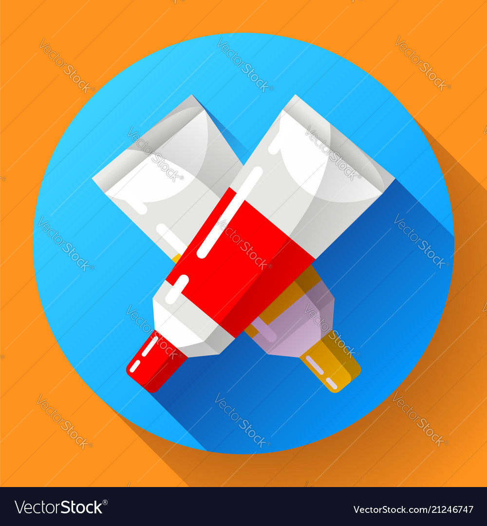 Two colorful paint tubes icon
