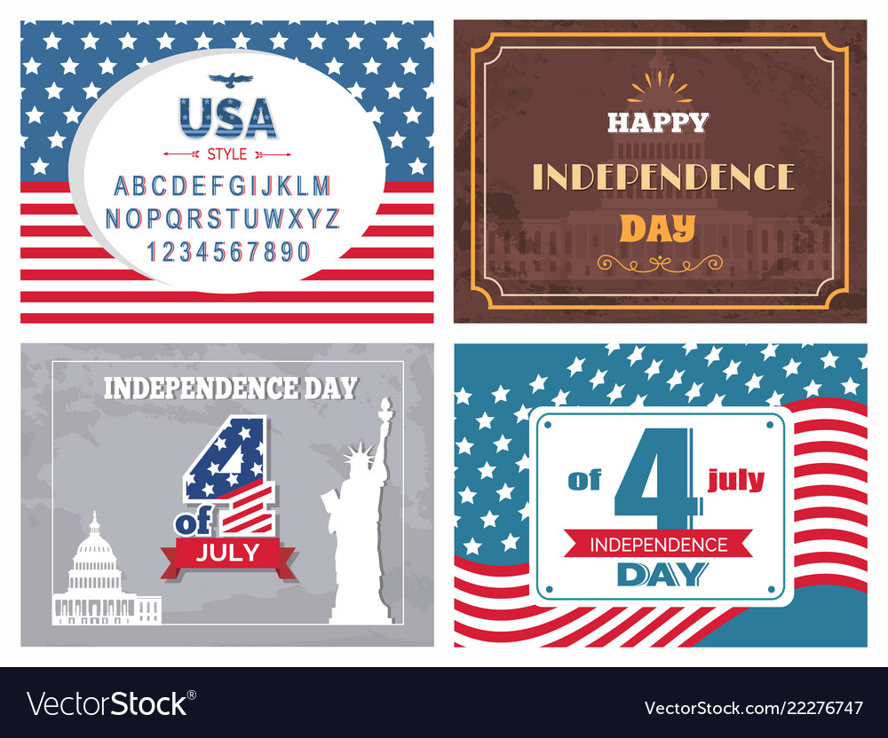 Usa independence day poster set with national flag