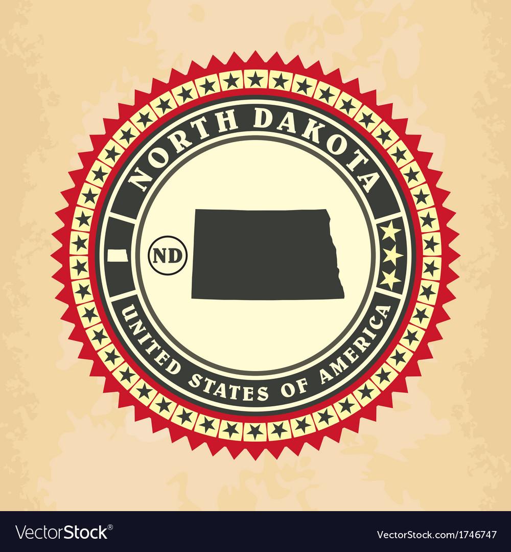 Vintage label-sticker cards of North Dakota