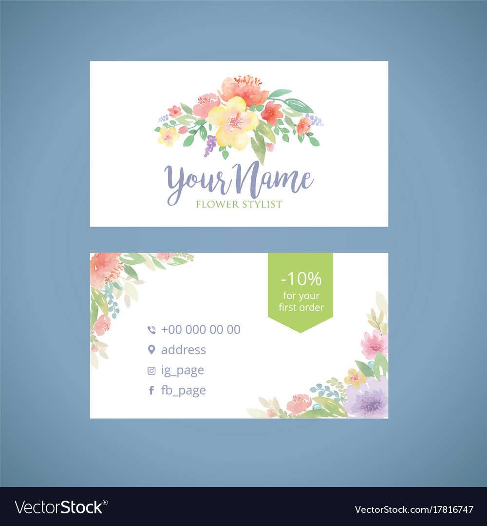 Watercolor flowers business card template2 Vector Image