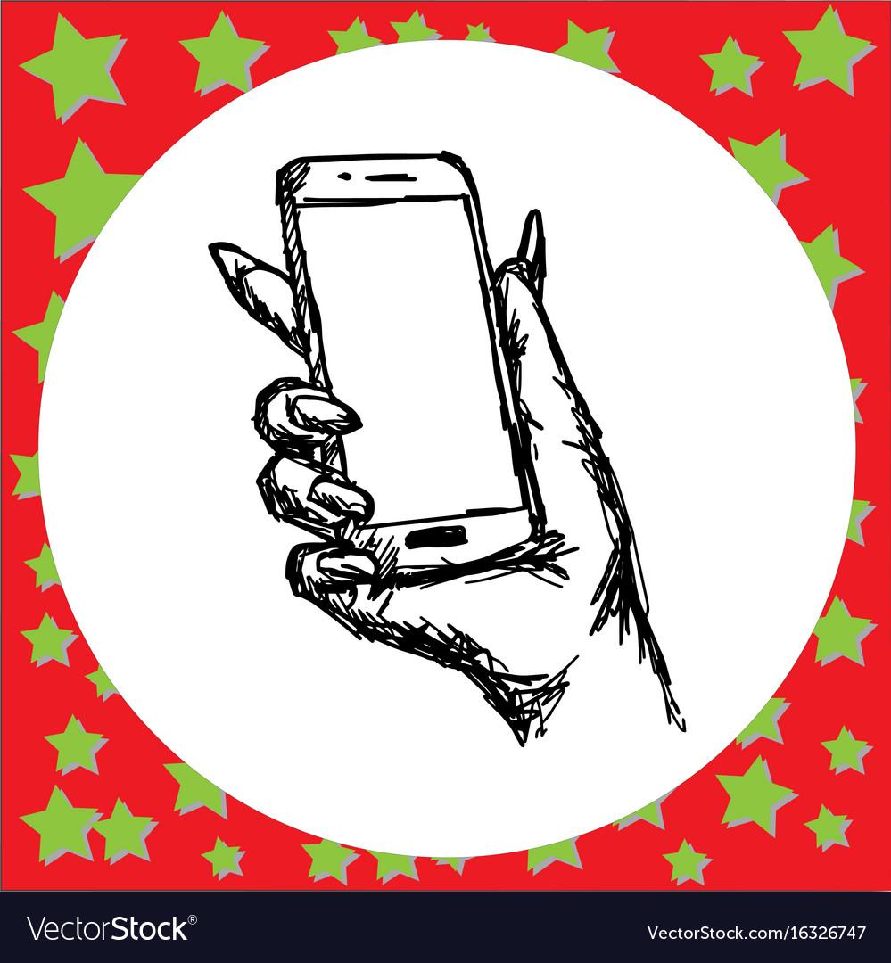 Zombie holding smartphone vector image