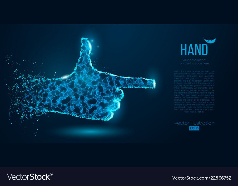 Abstract silhouette of a hand points finger