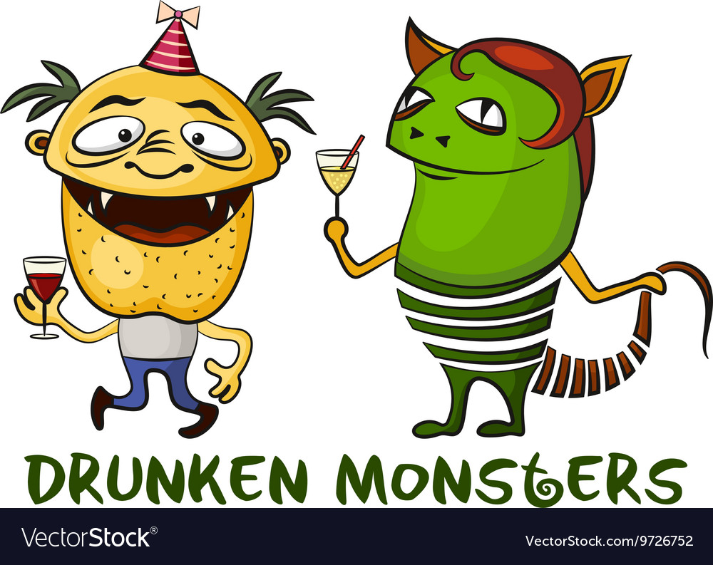 Drunken Cartoon Monsters Set