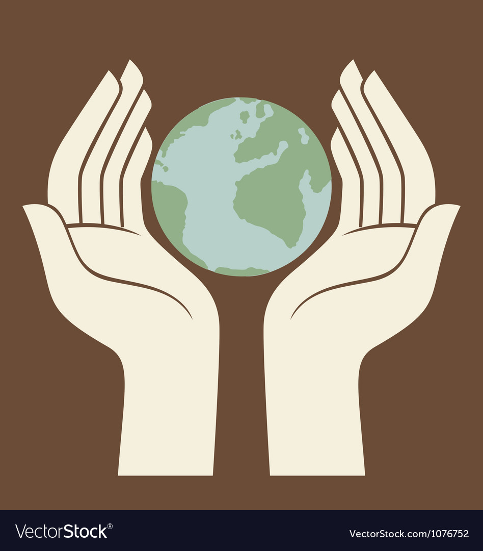 Earth protected by hands logo