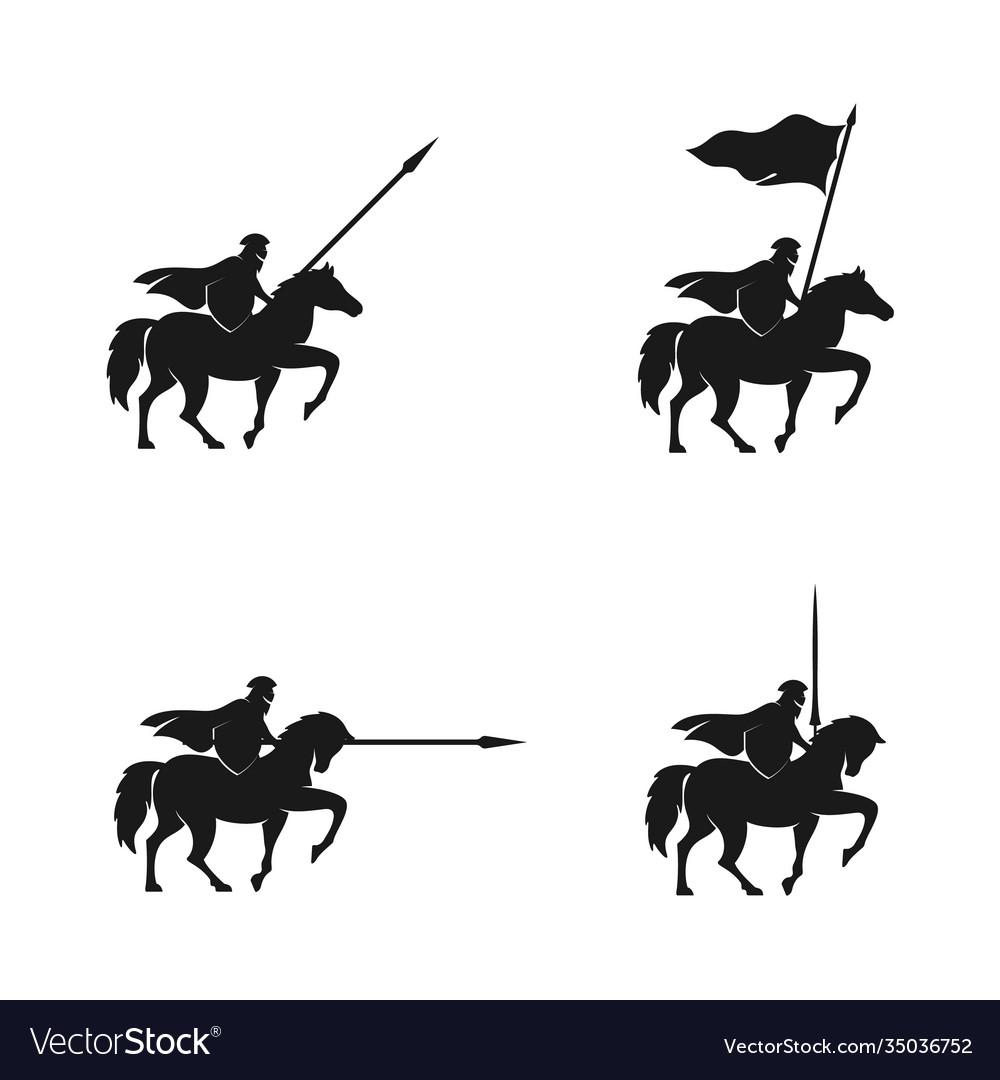 Horseback knight silhouette logo horse warrior