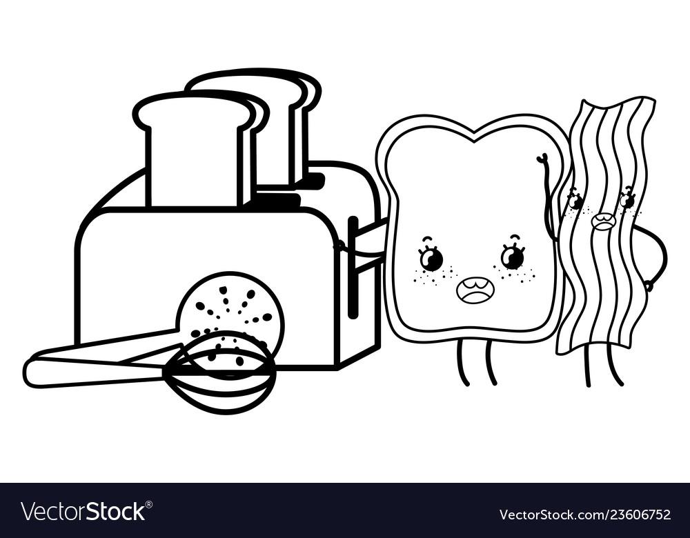 Kitchen Cute Cartoons Utensils Black And White