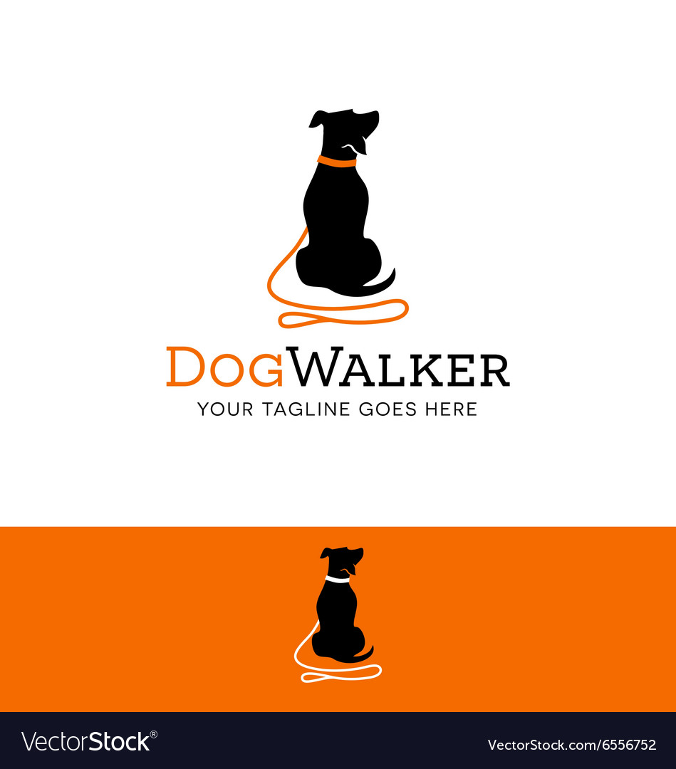 Logo for dog walking pet related site or business vector image
