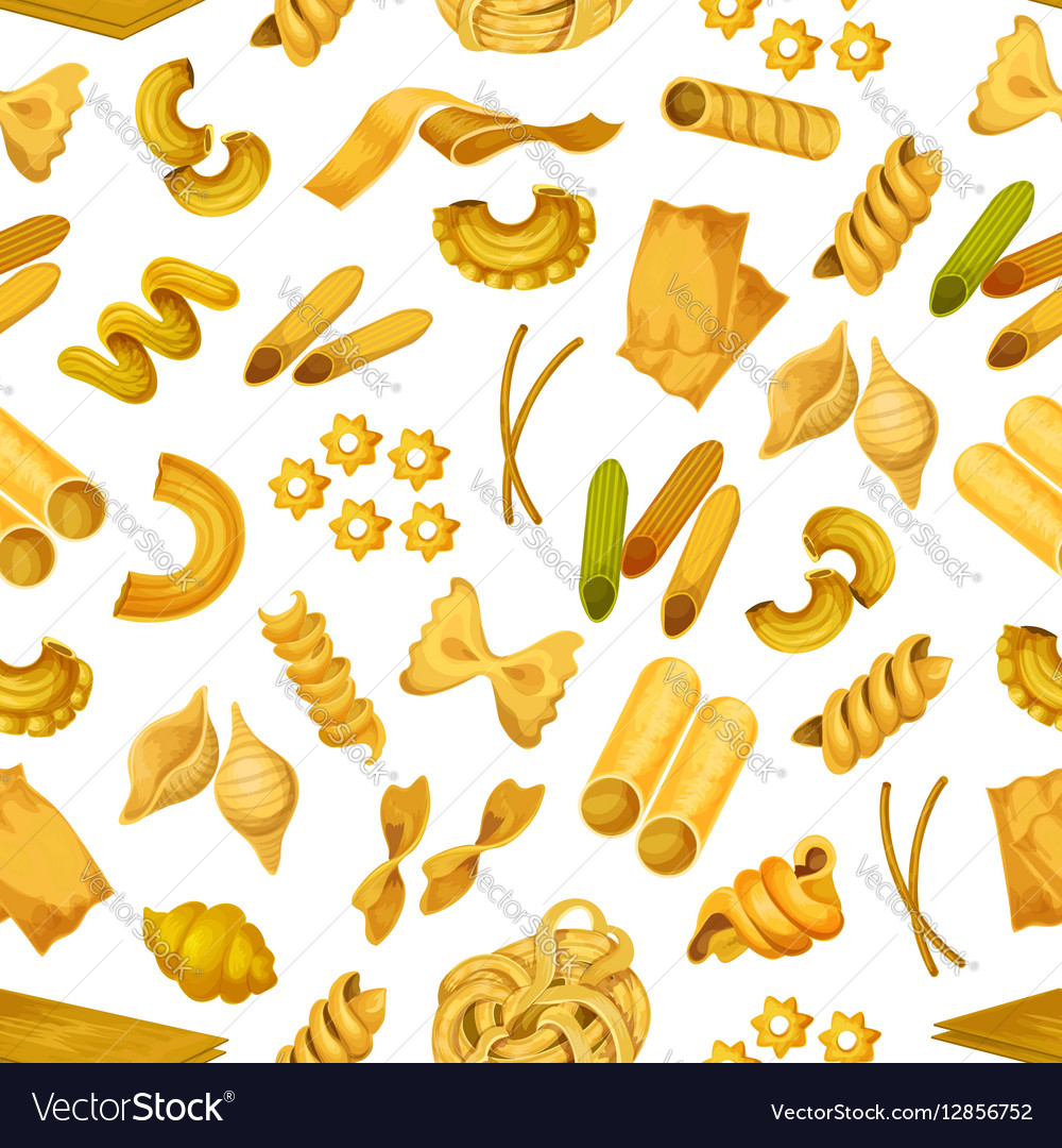 Macaroni or italian pasta seamless pattern vector image