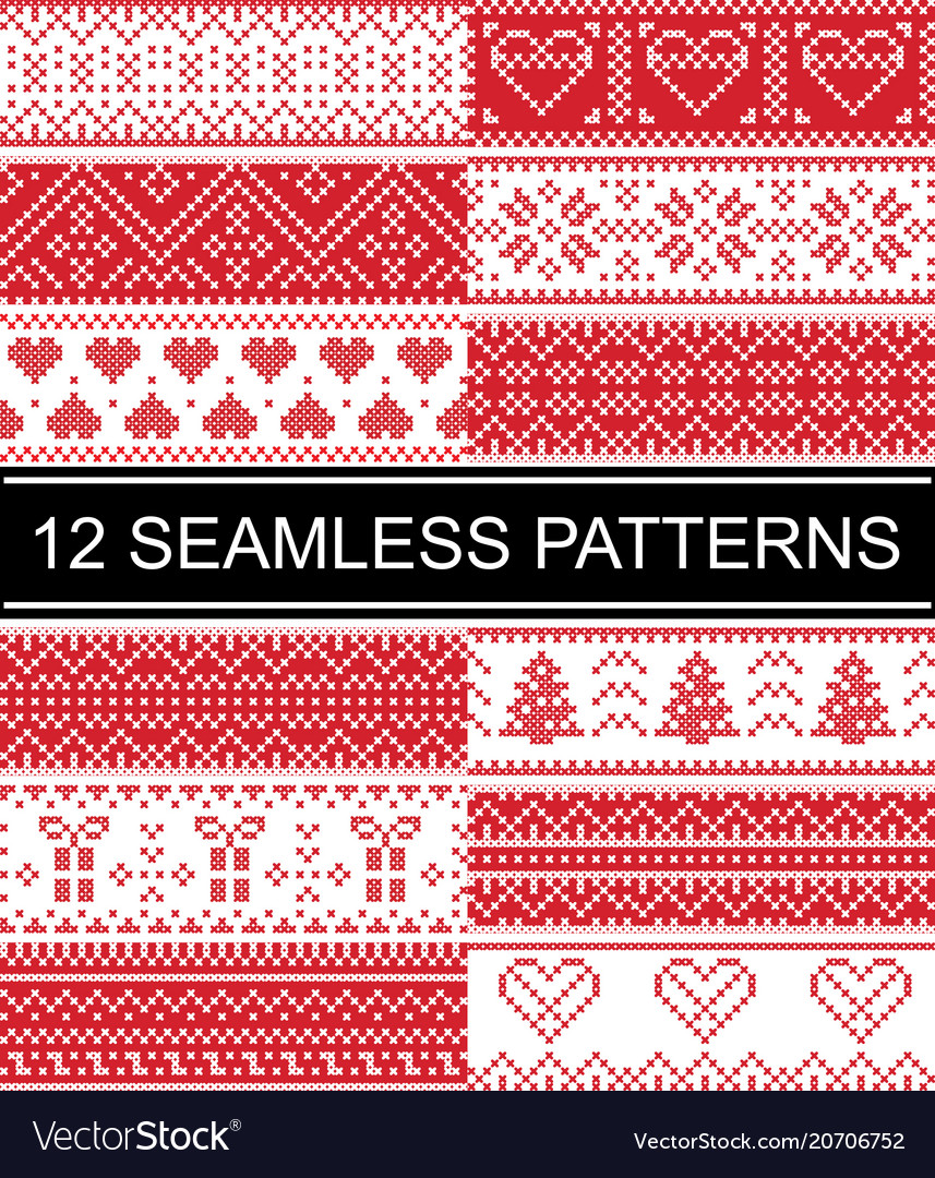 Scandinavian style patterns christmas vector image
