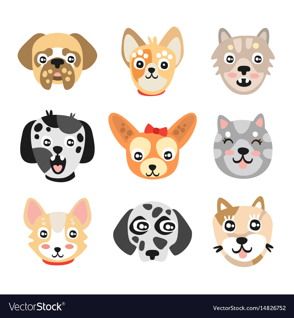 Image of: Funny Dogs Vectorstock Set Of Cute Cartoon Dogs Heads Colorful Character Vector Image