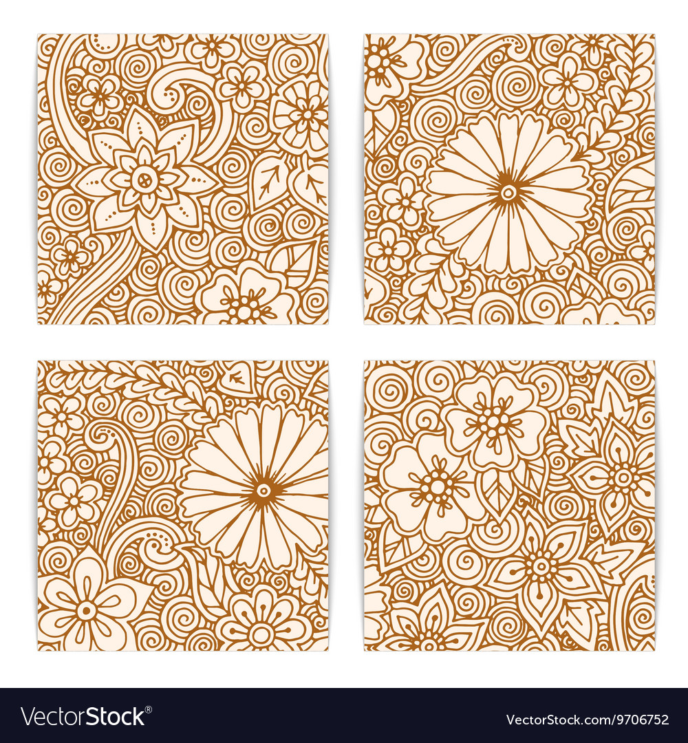 Set of floral card Hand drawn artwork with vector image