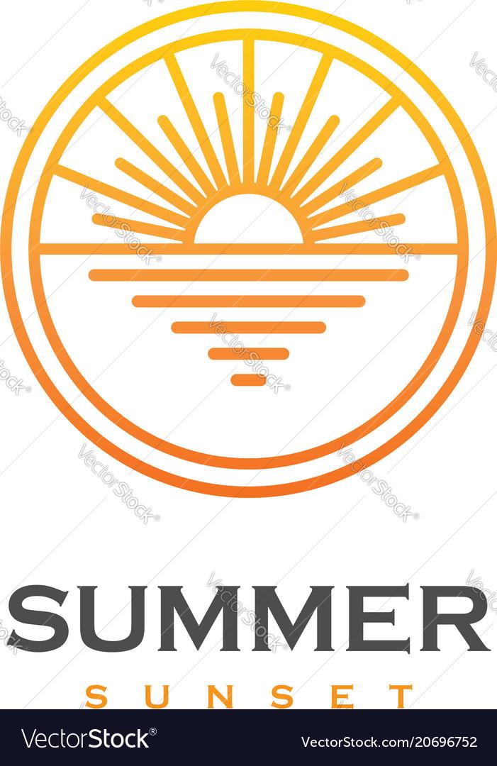 Sun and sea linear logo