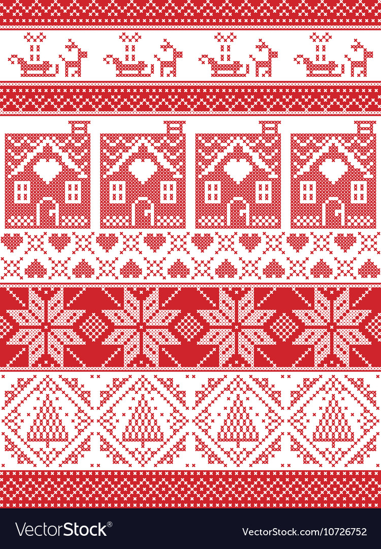 Tall xmas pattern with gingerbread house reindeer