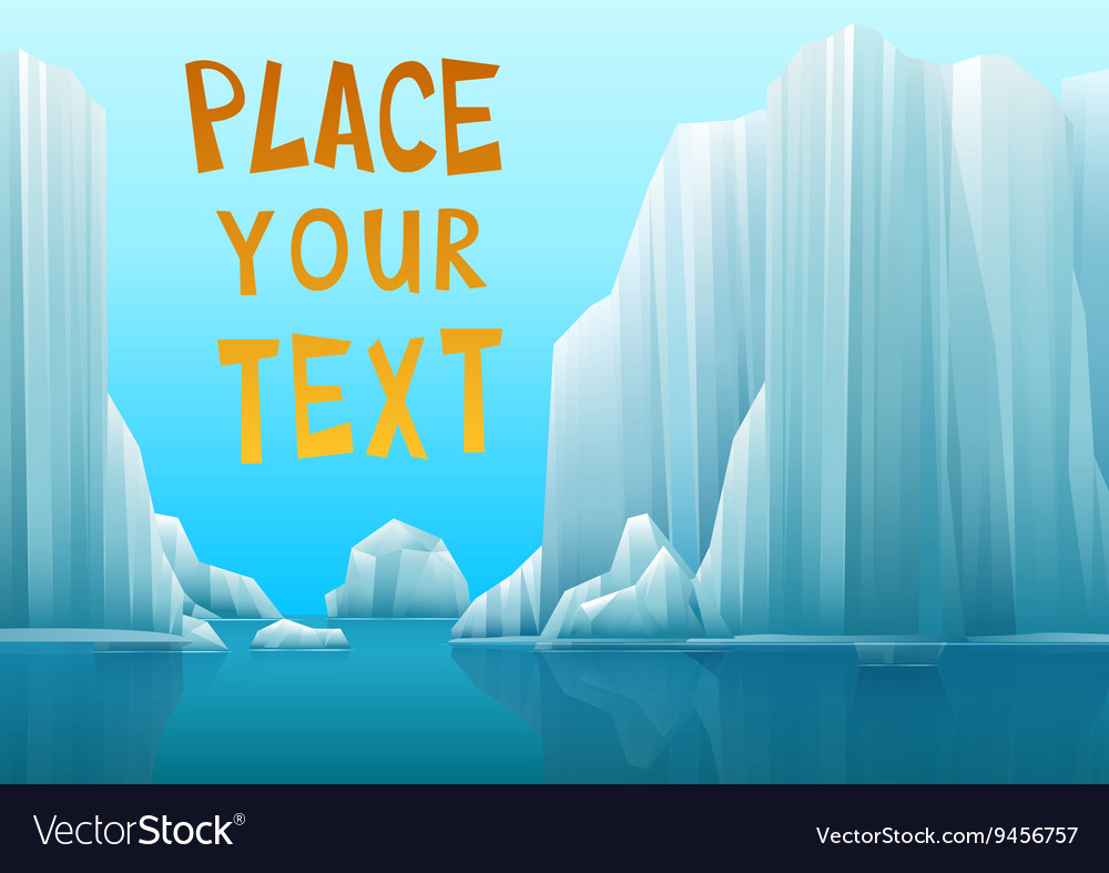A polar landscape with icebergs