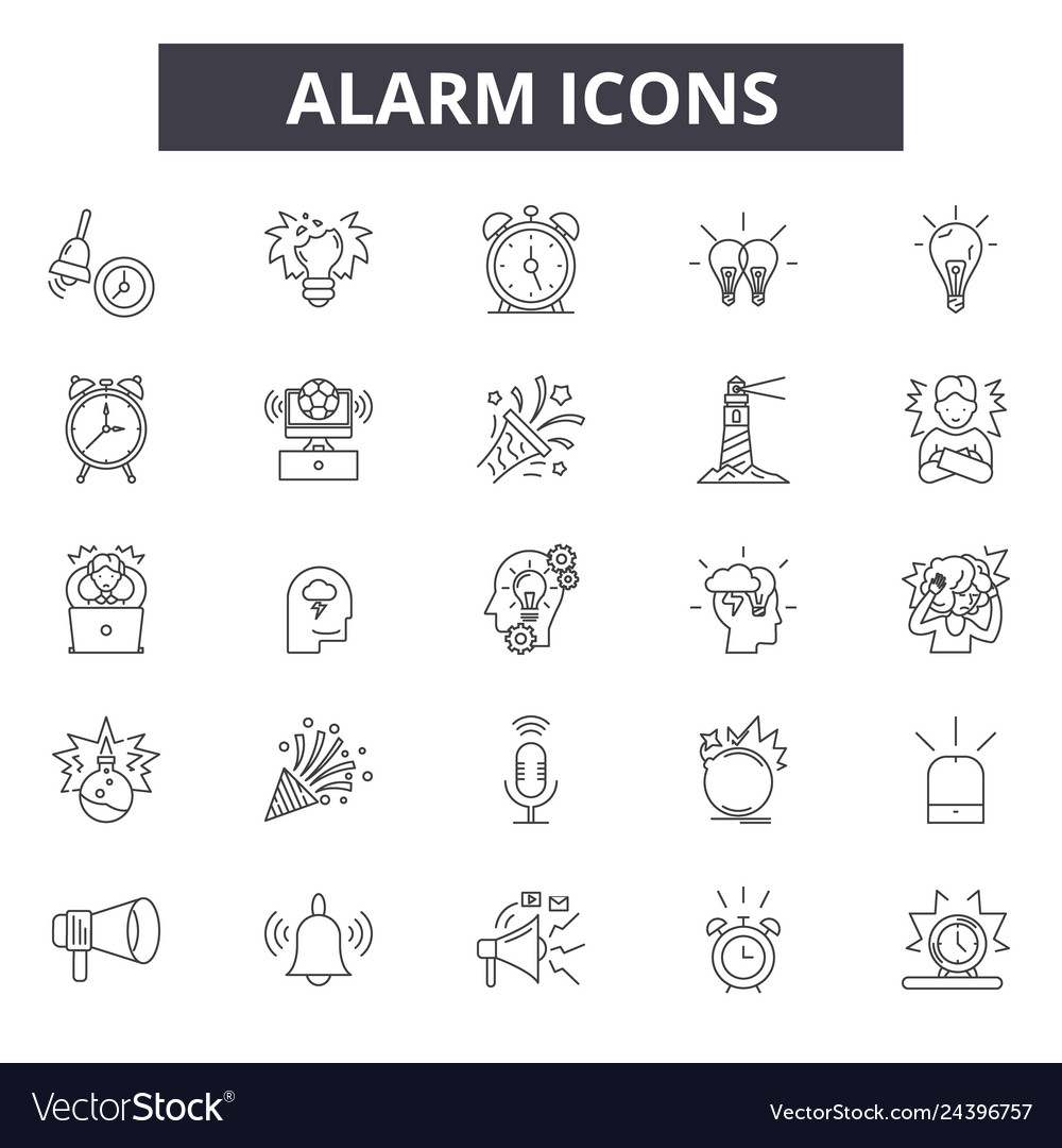 Alarm line icons for web and mobile editable