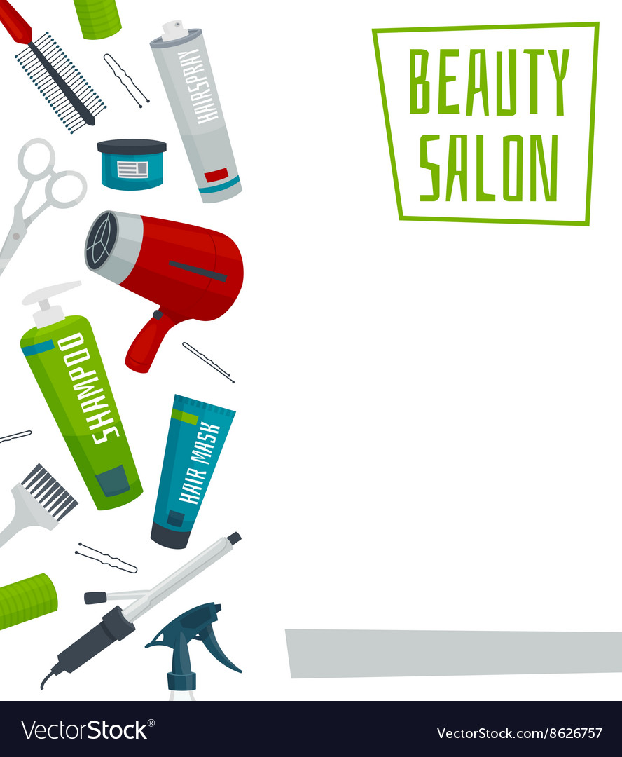 Beauty salon poster template hair care tools