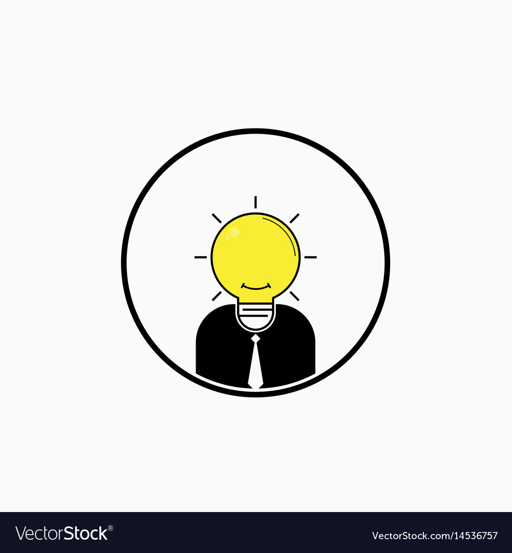Business man logo with idea light bulb head