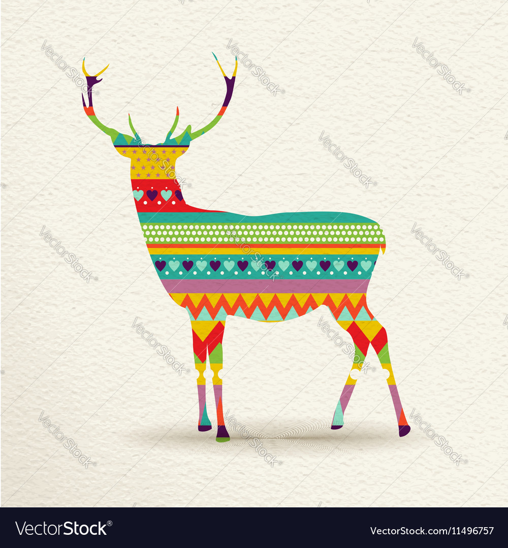 Christmas reindeer art design in fun colors vector image