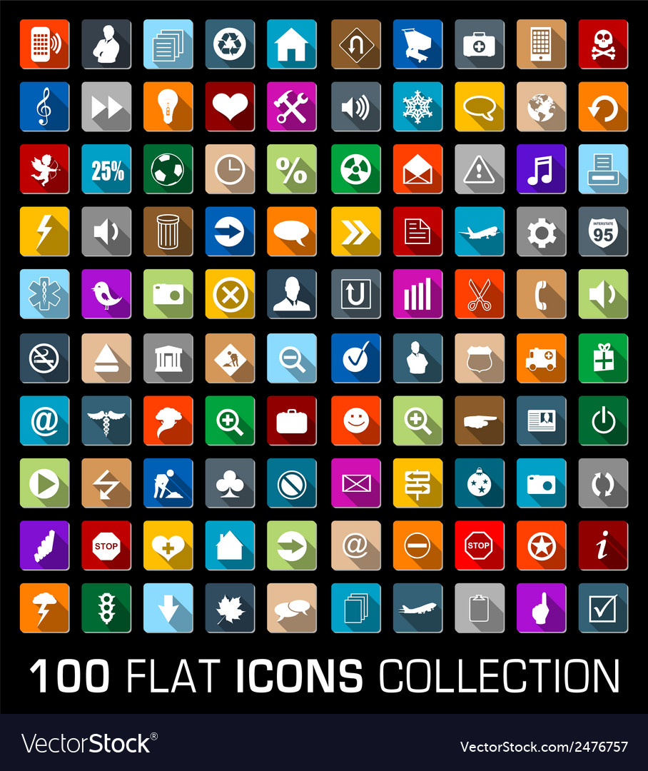Colorful Set of 100 universal flat modern icons vector image