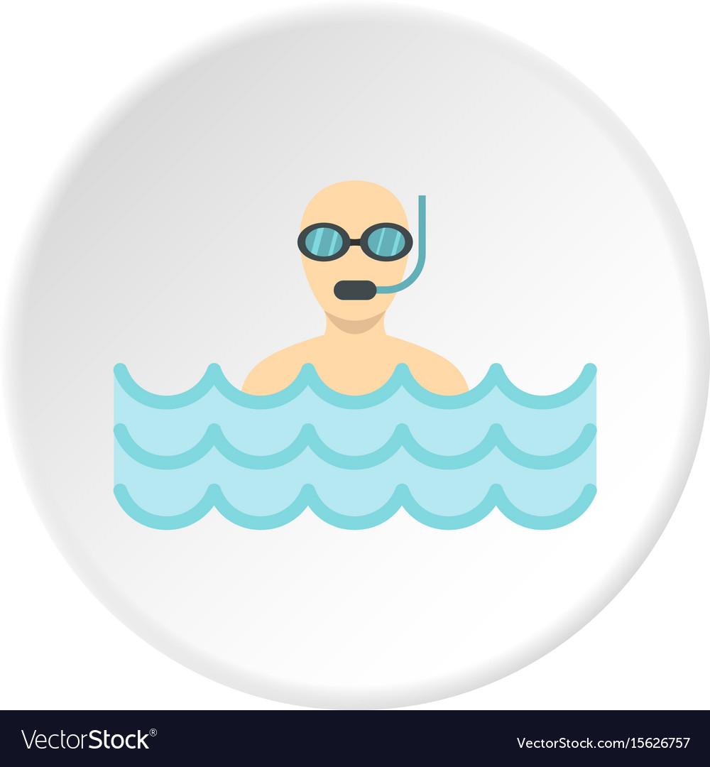 Diver with scuba icon circle