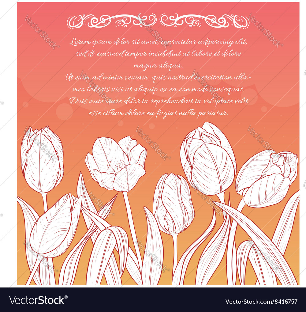 Floral card with tulips on red-yellow background