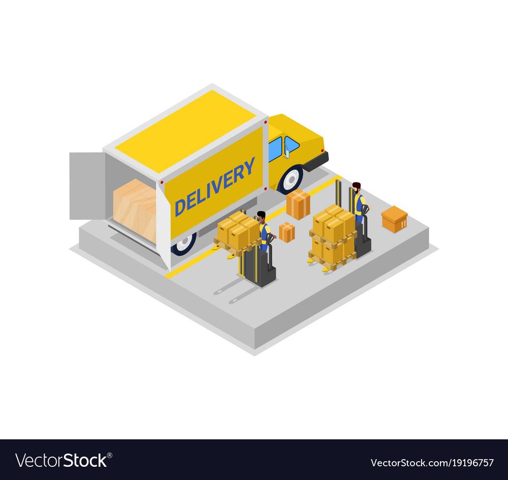 Forklift cart loading truck isometric 3d icon