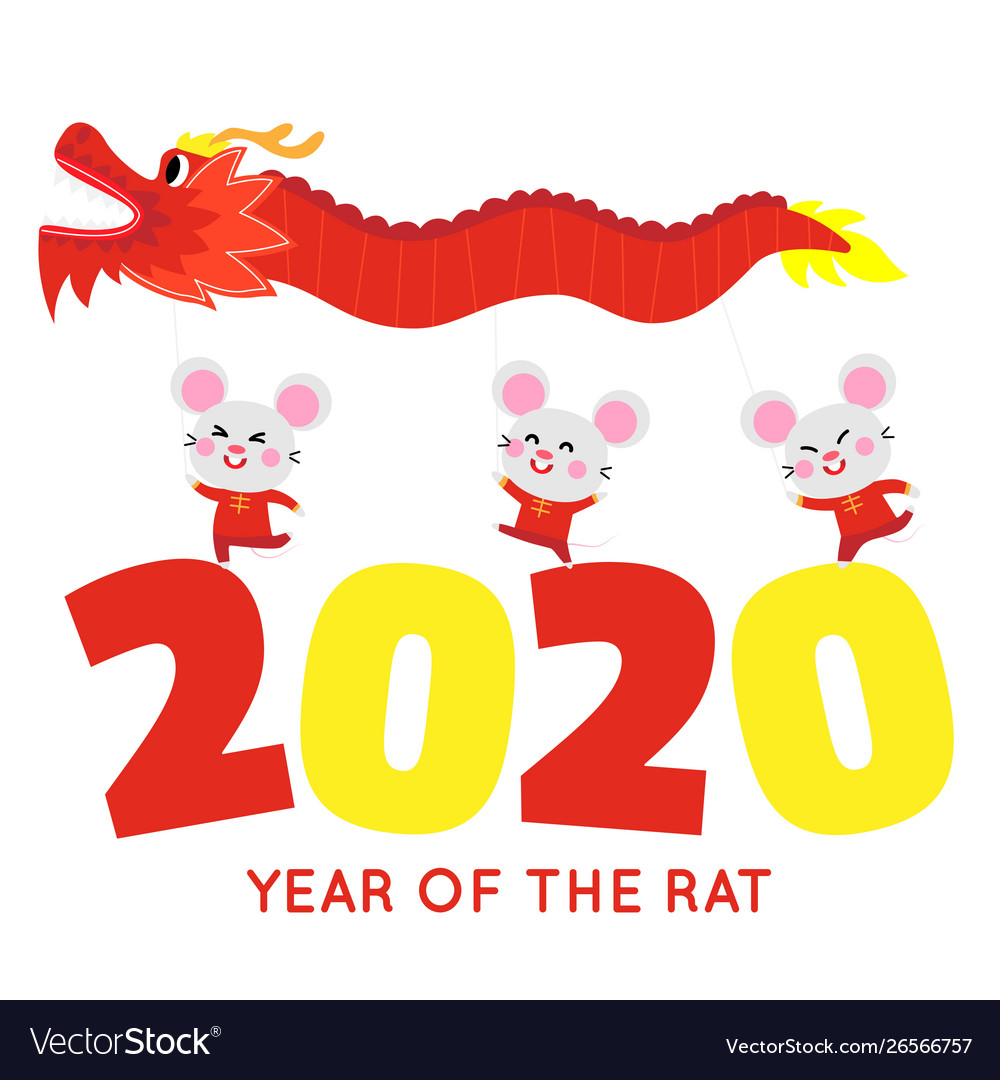 Happy chinese new year card with cute rat