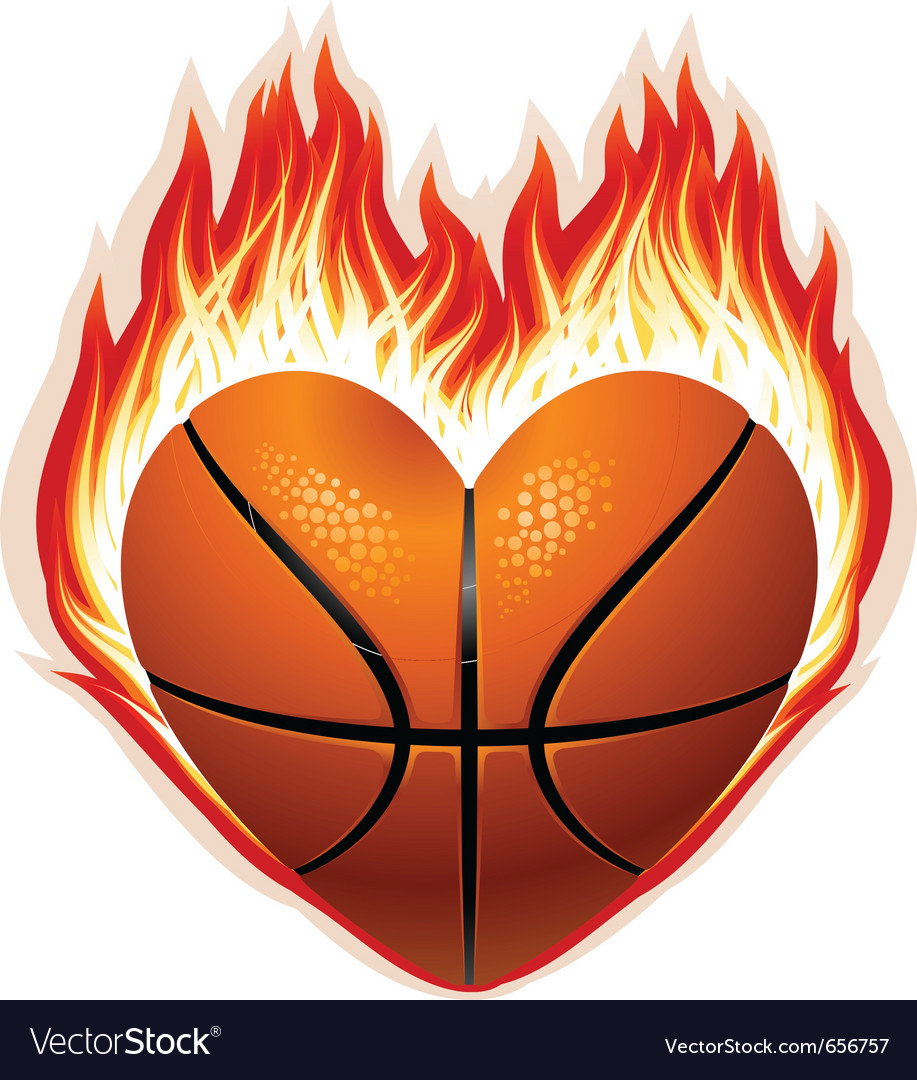 heart shaped basketball on fire royalty free vector image rh vectorstock com heart shaped basketball png heart shaped basketball cookies