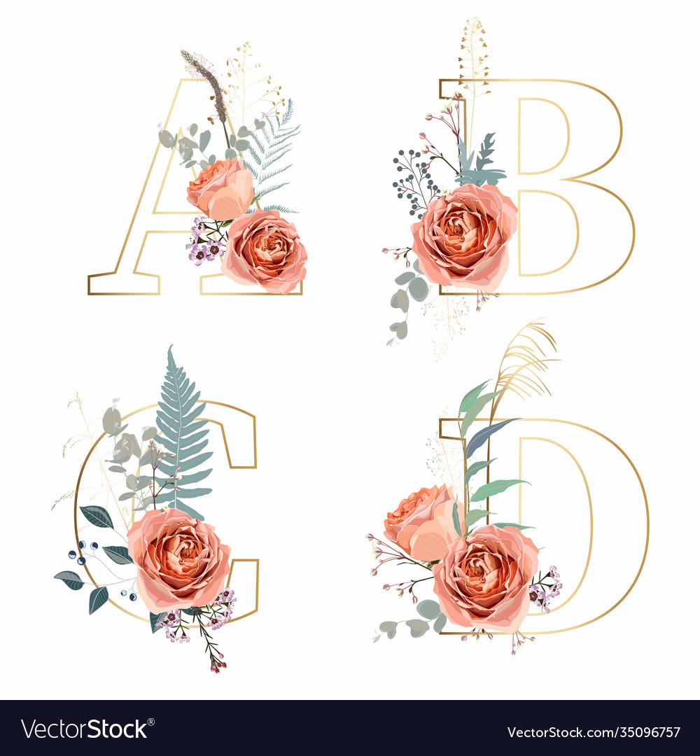 Letters a b c d with flowers decoration