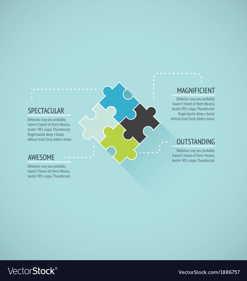 Puzzle piece flat infographics business concept ve