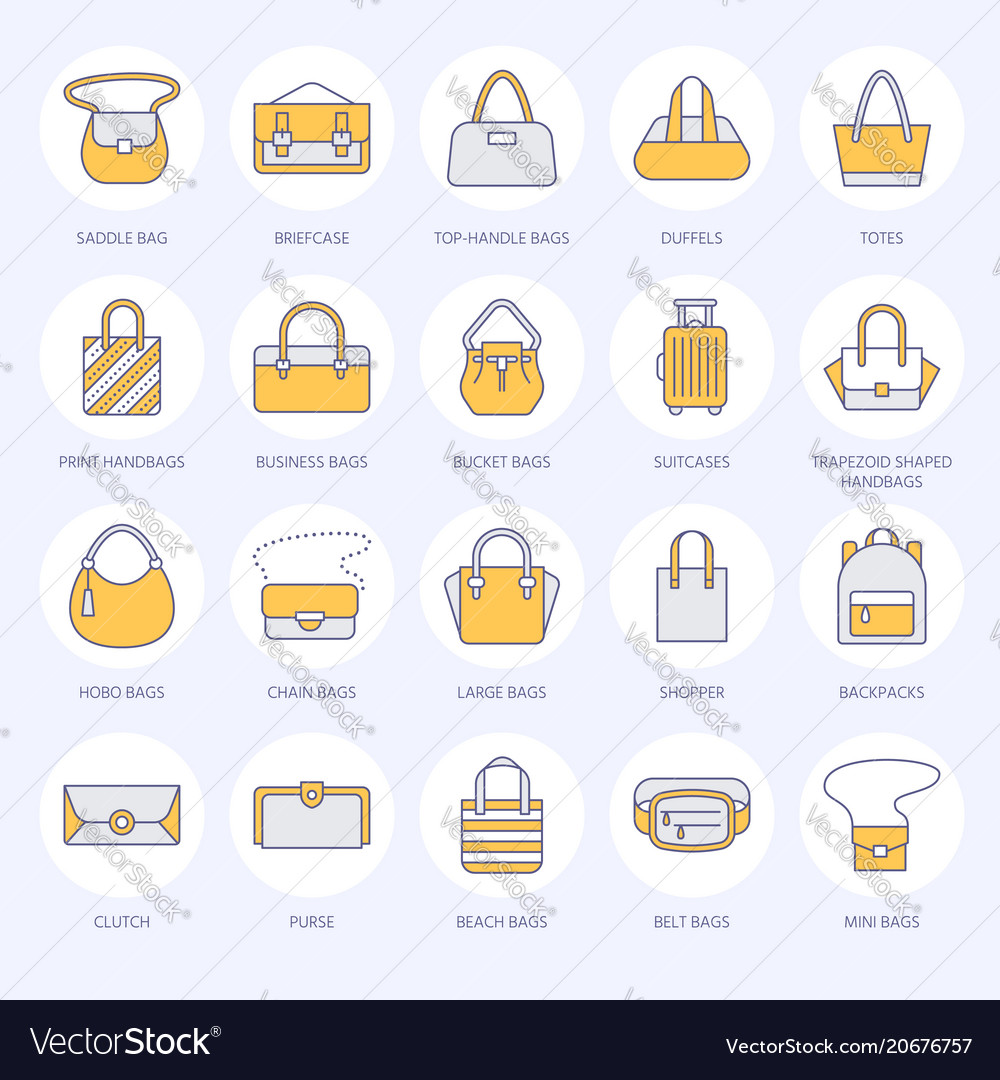 c884e9b6d3 Women handbags flat line icons bags types Vector Image