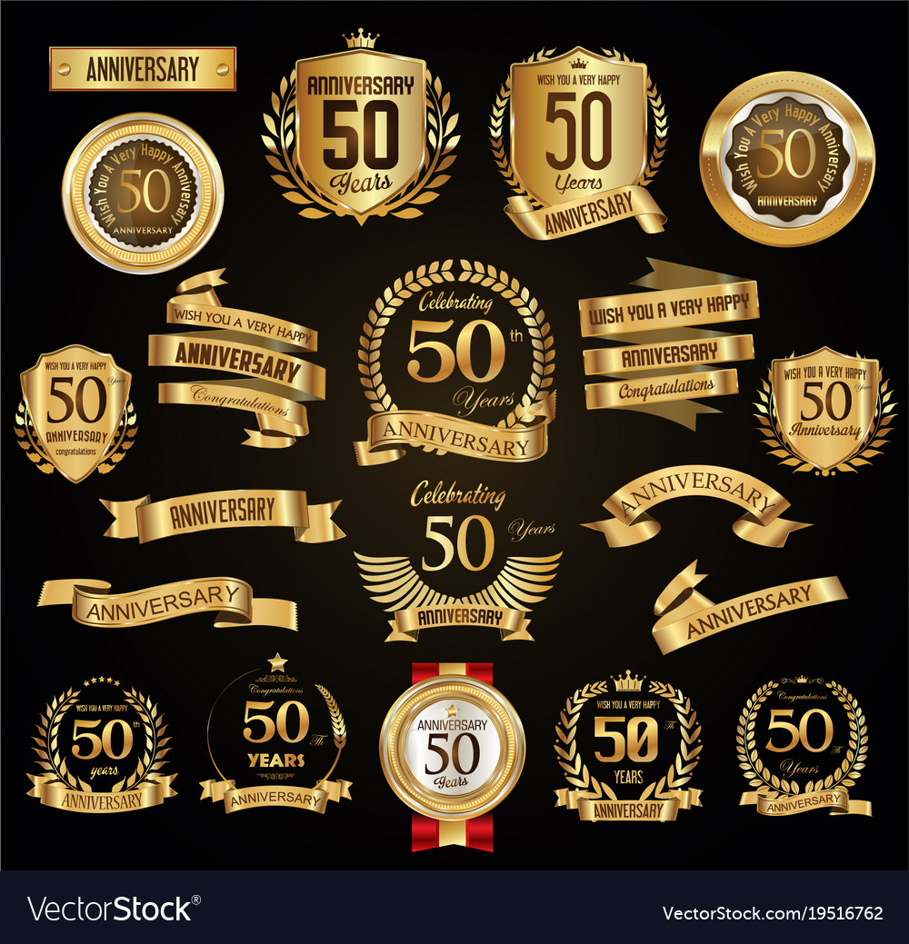 Anniversary retro vintage badges and labels