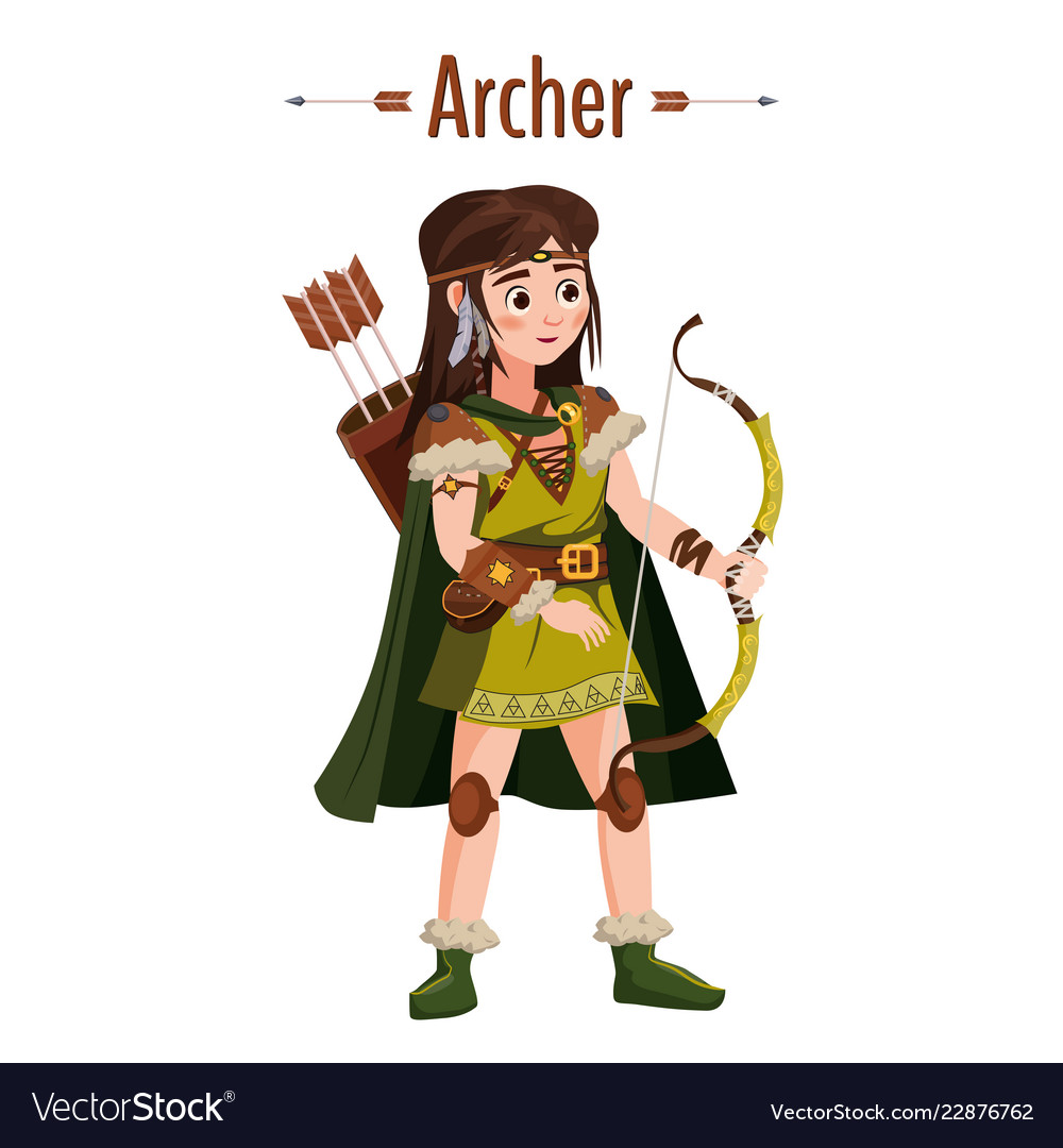 Archer girl warrior with bow arrows quiver
