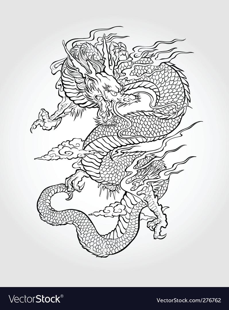 Asian dragon illustration vector image