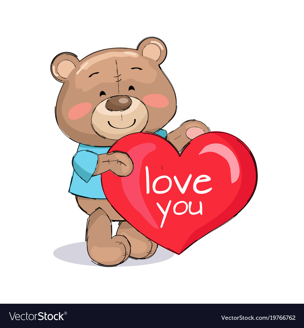 Download Bear male holding red heart text i love you Vector Image