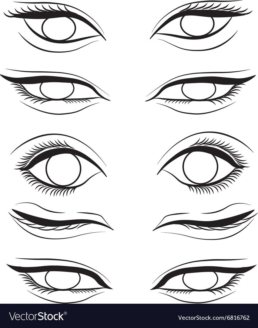 Eye Cartoon Line Sketch Shape Royalty Free Vector Image