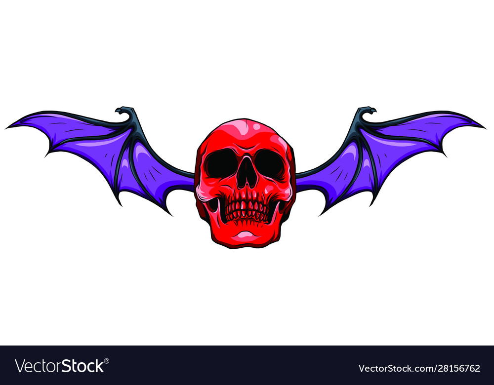 Fanged skull with bat wings black and white