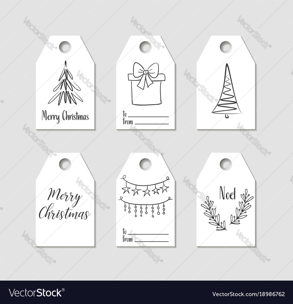 Hand drawn christmas gift tags labels