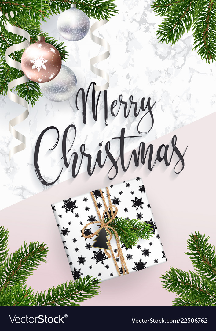 Merry christmas greeting card marble and fir tree