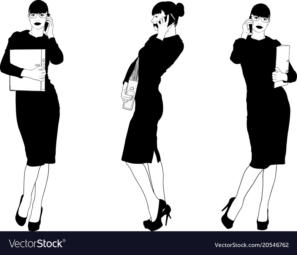 Secretary is talking on the phone vector image