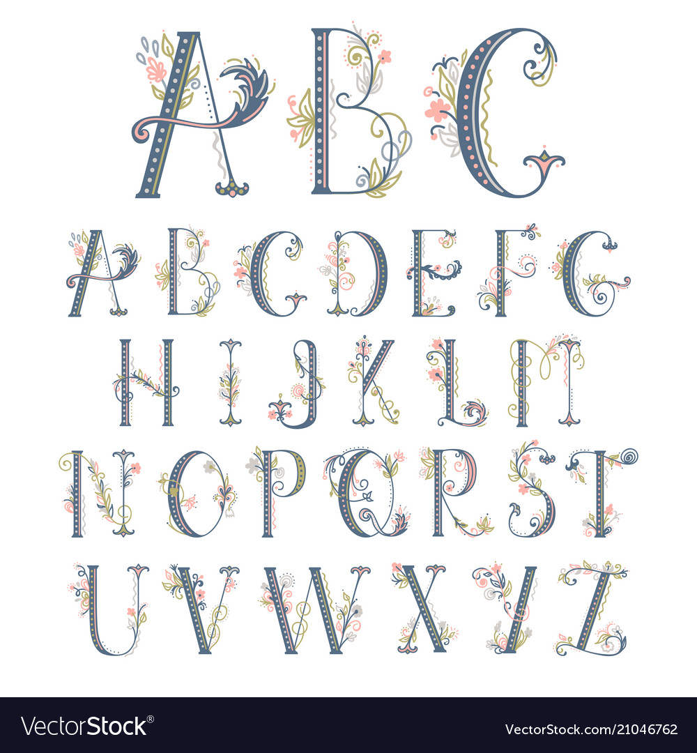 Summer floral font flower uppercase and lowercase