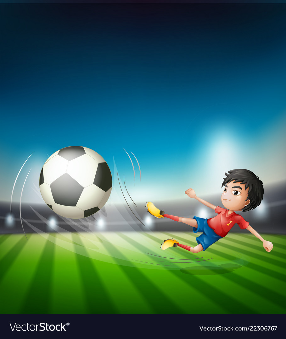 A football player kicking ball
