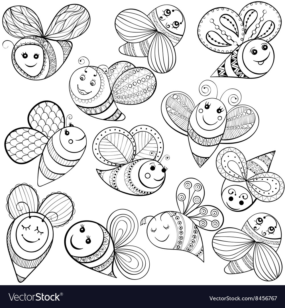 Bees For Adult Coloring Page Hand Drawn Royalty Free Vector