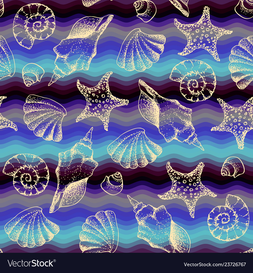 Blue waves pattern and hand draw in marine style