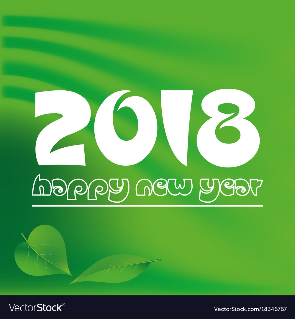 Happy new year 2018 on green abstract color